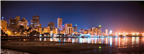 A picturesque evening view of the Durban skyline,...