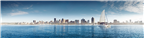 Panoramic view of a sailing yacht with the Durban...