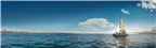 Panoramic view of a yacht sailing just off the Du...