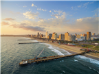A scenic aerial view of the Durban beachfront in ...