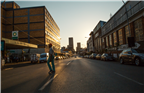 Sunset street scene in the Maboneng precinct in J...
