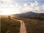 Aerial of a woman walking along a dirt road in th...