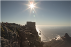 Scenic view of the cable car on Table Mountain